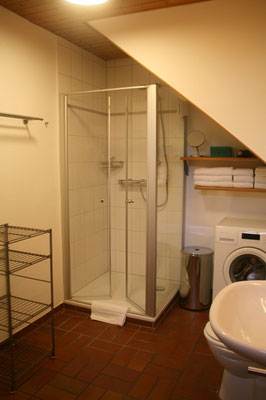 Grosszügiges Badezimmer mit Dusche, WC, Waschbecken und eigener Waschmaschine.