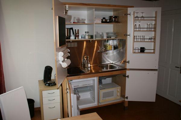 Eigene kleine Küche im Gästezimmer der Familie Goosmann in Bad Honnef.