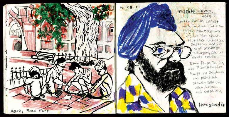 Sketchbook New Delhi : Agra, Red Fort, Marble House