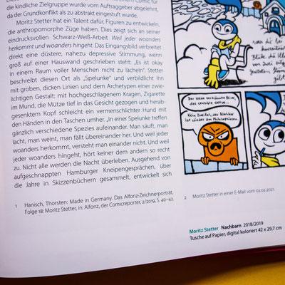 """Beitrag Moritz Stetter im Ausstellungskatalog """"Unveröffentlicht - Die Comicszene packt aus!"""", Edition Alfons"""