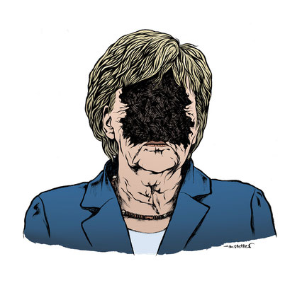 "Die Christdemokraterin: Angela Merkel / ""Kratermenschen"" © 2017, Moritz Stetter"