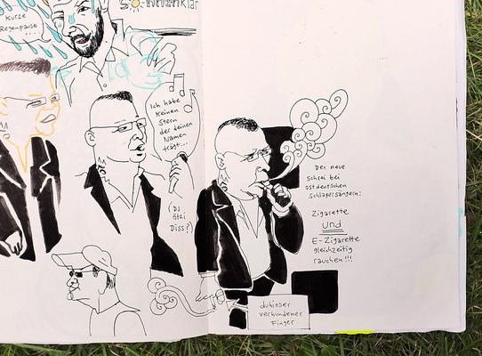 Urban Sketching Tage Görlitz 2017, auf dem Marktplatz geraten wir in eine volkstümliche Werbeveranstaltung eines Reiseunternehmers.