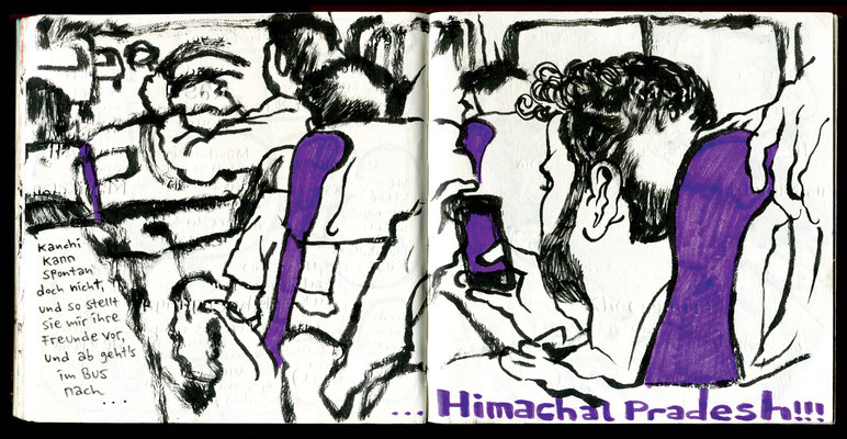 Sketchbook New Delhi : Im Bus nach Himachal Pradesh