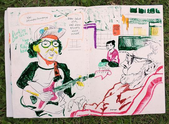 """Urban Sketching Tage Görlitz 2017, Konzert von """"Burkini Beach"""" im Kühlhaus"""