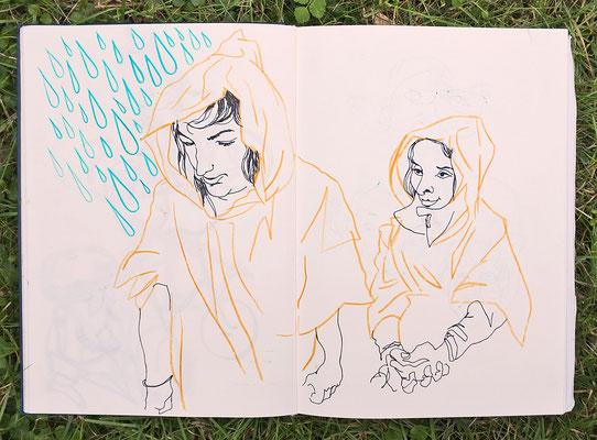 Urban Sketching Tage Görlitz 2017, auf dem Weg zum Workshop vom Regen überrascht