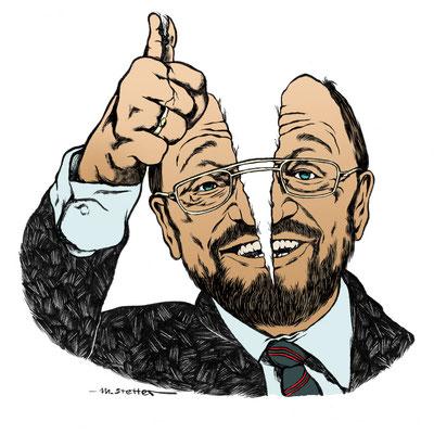 """Der Sozialdemokrater: Martin Schulz / """"Kratermenschen"""" © 2017, Moritz Stetter"""