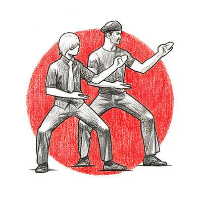 """Уроки Самообороны с Тадеушем Касьяновым (иллюстрация для журнала """"FHM""""), 2008"""