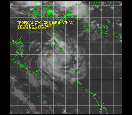 Satellite image of Tropical Cyclone Nathan from the JTWC.