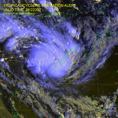Satellite image of a tropical low off Western Australia. Image from JTWC.