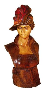 Talla madera Busto mujer con sombrero