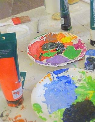Farbenfrohe Acrylbilder-Malereien-Bilder-gestalten-MaterialieCollagen-Atelier-Marion-Haas
