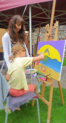 Malseminare-Kunsttherapie-Malevent-Kindermalkurse-Malkurse-für Jugendliche-Im Freien-im-Atelier-Marion-Haas-Kindergeburtstage-im-Atelier