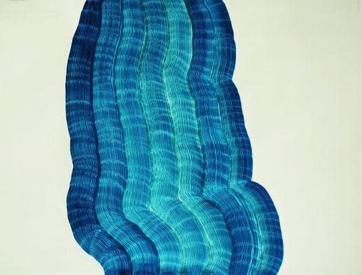 Furchen blau, Tusche auf Papier, 68 x 90 cm