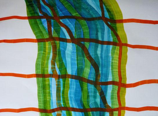 Grenzen rot, Tusche auf Papier, 68 x 104 cm
