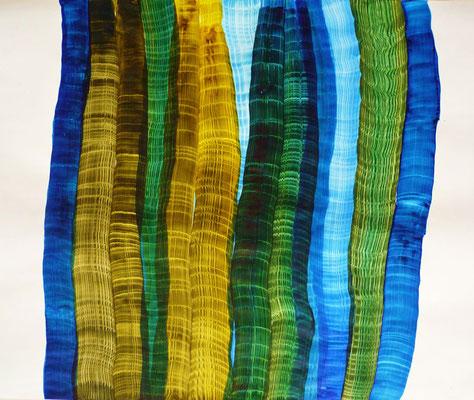 Blaugrün, Tusche auf Papier, 67 x 88 cm