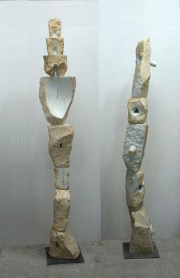 Due totem - 2007 - Marmo, onice e colore