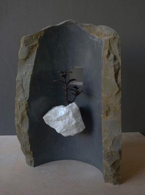 Giardino pensile - 2012 - Marmo bardiglio e  statuario, foglia d'argento e ferro