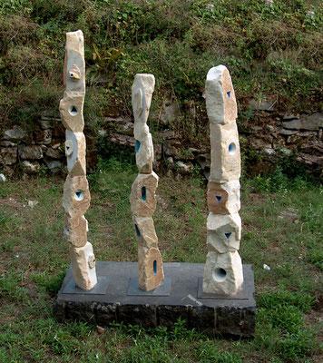 Tre totem - 2001-2003 - Marmo, e colore