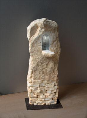 Altarino rupestre - 2009 - Marmo statuario, foglia d'argento e colore