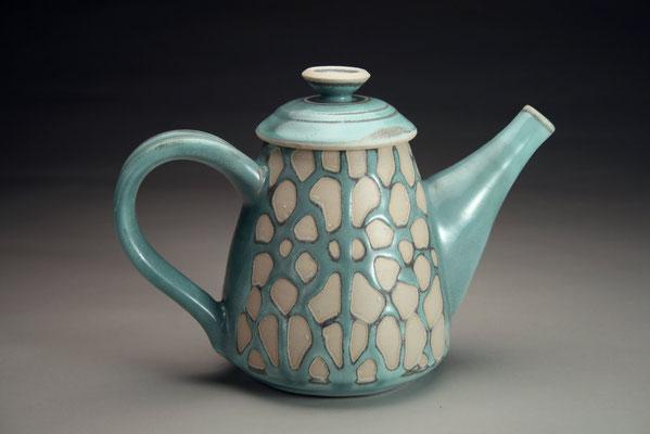 Türkise Teekanne mit Wachsabdeckung gearbeitet von Jenanne Longman, Canada