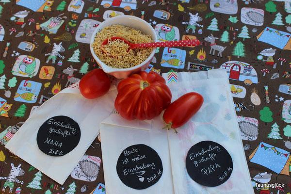 Tomatensuppe natürlich mit Buchstabennudeln