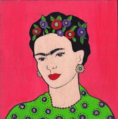 """Frida"" (2020), Acrylic on Wood, 12 x 12 cm"