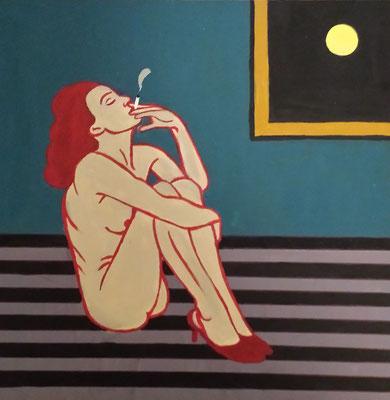 """""""Smoking Philomena"""" (2014), Acrylic on wood, 30 x 30 cm"""