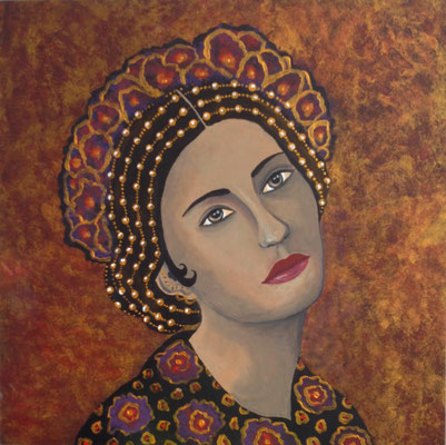 """Marrakesh III - Poppaea"" (2015), Acrylic on wood, 50 x 50 cm - AVAILABLE"