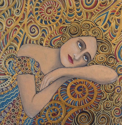 """Russian Rhapsody I - Ophelia"" (2015), Acrylic on wood, 40 x 40 cm"