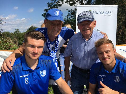 Autogrammstunde FCM-Spieler (Schiller, Erdmann) beim Steinbruchfest 2017