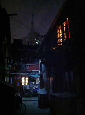 Eine der wenigen noch nicht abgerissenen älteren Gebäude in Shanghai