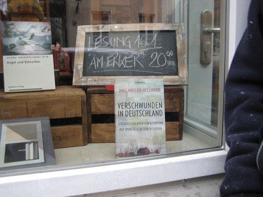 Ankündigung der Lesung im Buchladen Textwerk München Januar 2015