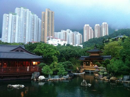 Eine nachgebaute Gartenanlage in Hongkong