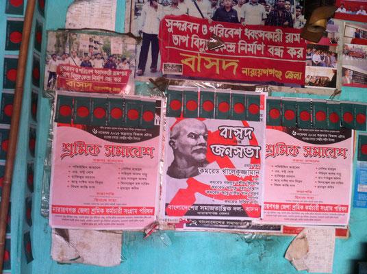 Im Büro der sozialistischen Parteil im Industriegebiet von Narayanganj nördlich von Dhakas