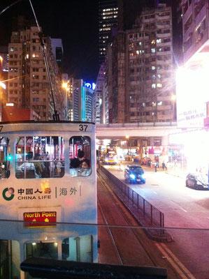 Straßenbahn fahren in Hongkong