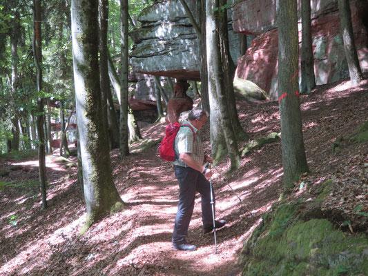 unser Wanderführer Otwin Paul an den Hohlen Felsen