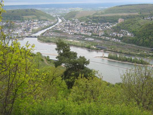 gegenüber liegt die Nahemündung zwischen Bingen und Bingerbrück, auf der Insel flussabwärts der Mäuseturm