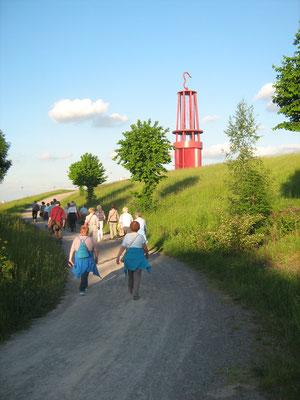 Aufstieg zum Geleucht auf der Halde Rheinpreussen