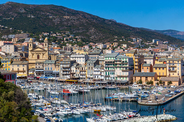 "The city view of Bastia with the old harbour. The name ""Bastia"" is derived from the italian word bastiglia which means fortress."