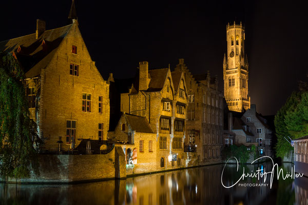 "Bruges (Brugge), Belgium ""The Rozenhoedkaai"" in Bruges by night"