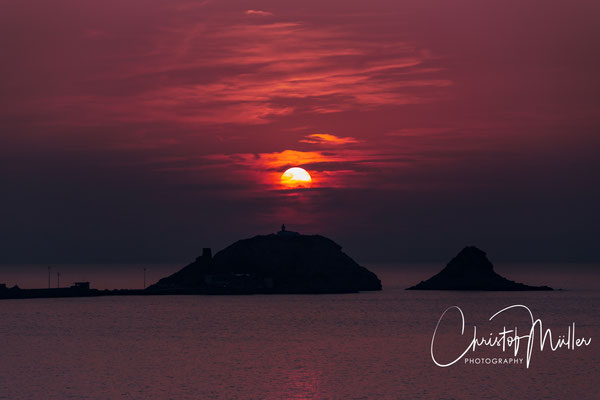 "At sunset, the""L'Île Rousse""  (Red Island) lives up to its name. The small peninsula is situated in the north of Corsica."