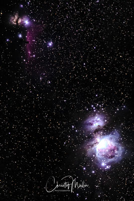 Orion Nebula, The Running Man Nebula, The horsehead Nebula and the Flame Nebula of the Orion Constellation (200 mm cropped)