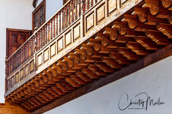 Fine woodcarvings in the couryard of Palacio Salazar in  San Cristóbal de La Laguna