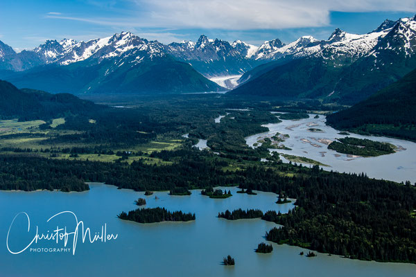 Aerial view above the Taku Inlet from a float plane ride departing from Juneau