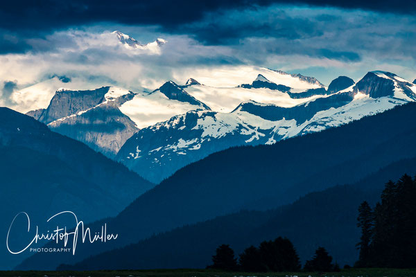 Snow capped Mountains at Stephens Passage, South-East Alaska