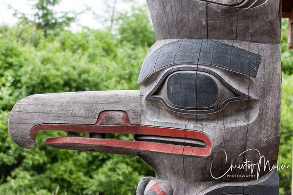 Detail of a Huna Tinglit Totem in Hoonah