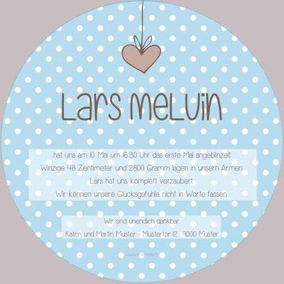 Lars Melvin Rückseite / 148x148mm / rund
