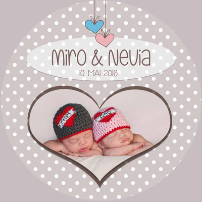 Miro & Nevia Vorderseite / 148x148mm / rund