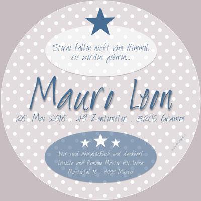 Mauro Leon Rückseite / 148x148mm / rund