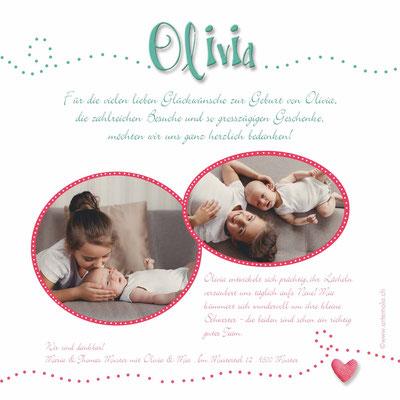 Danke Olivia Rückseite 148x148mm